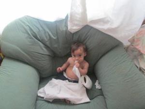 Yirmi snacking on tissue